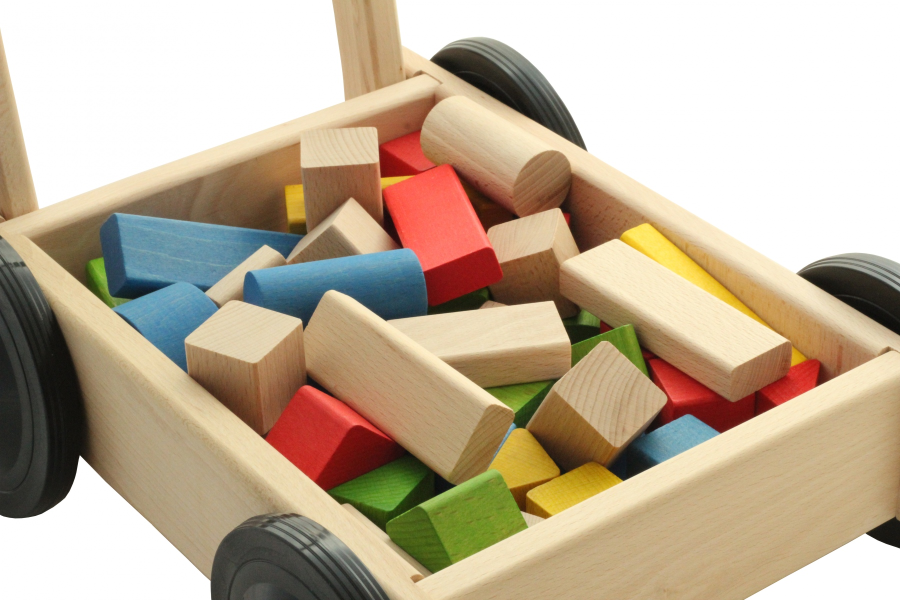 chariot de marche avec cubes en bois. Black Bedroom Furniture Sets. Home Design Ideas
