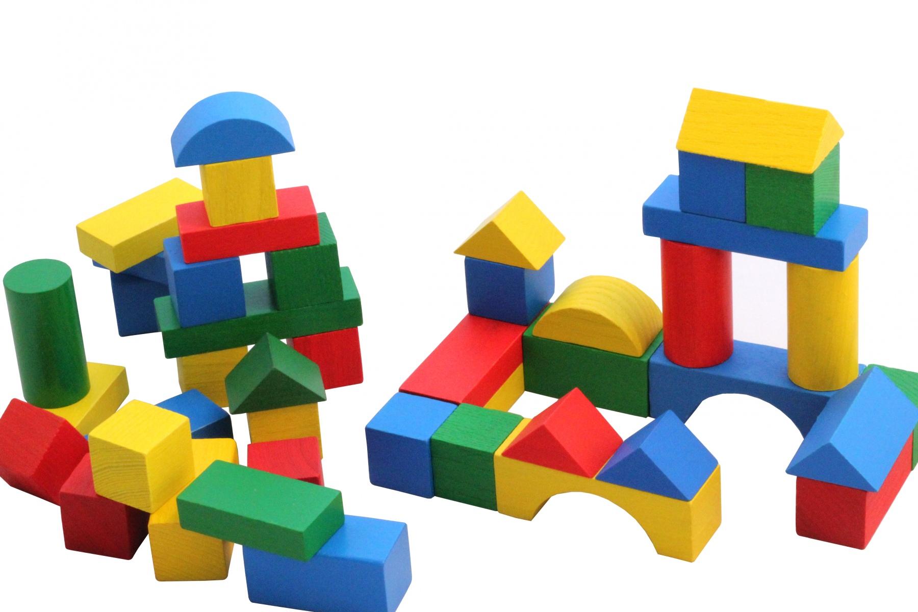 cubes de construction en bois multicolores 27 mm. Black Bedroom Furniture Sets. Home Design Ideas