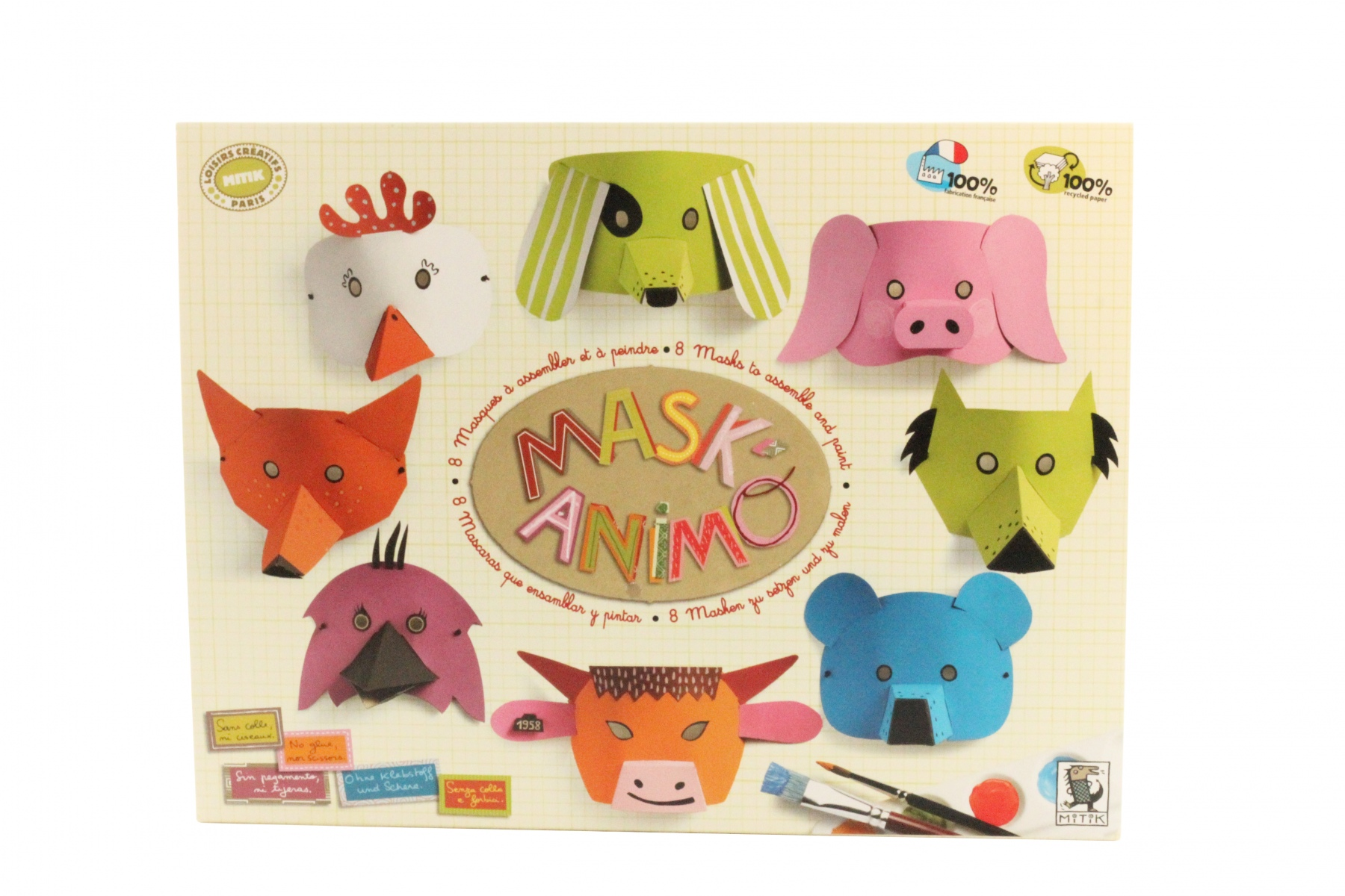 mask 39 animo masques d 39 animaux en carton de mitik. Black Bedroom Furniture Sets. Home Design Ideas