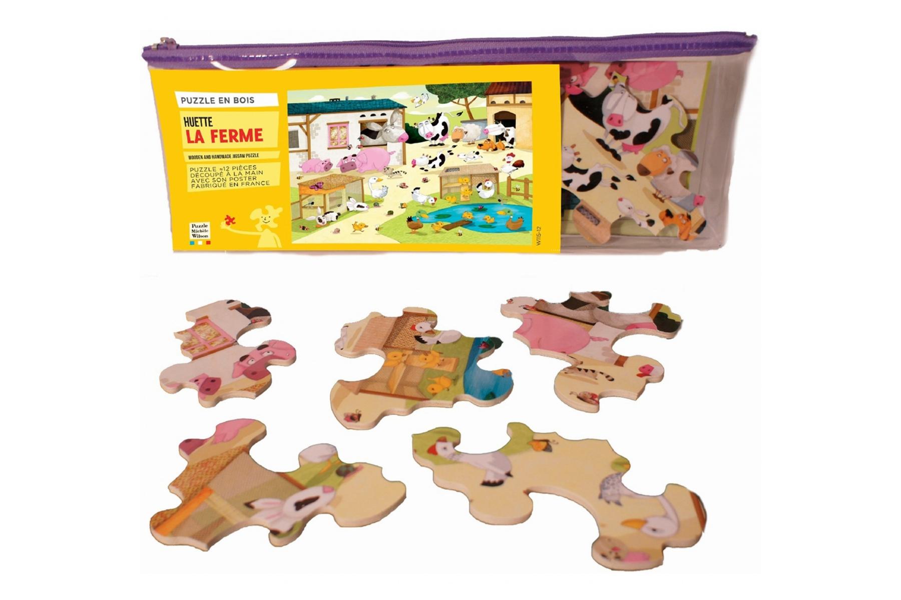 puzzle en bois la ferme puzzle 12 pi ces made in france. Black Bedroom Furniture Sets. Home Design Ideas