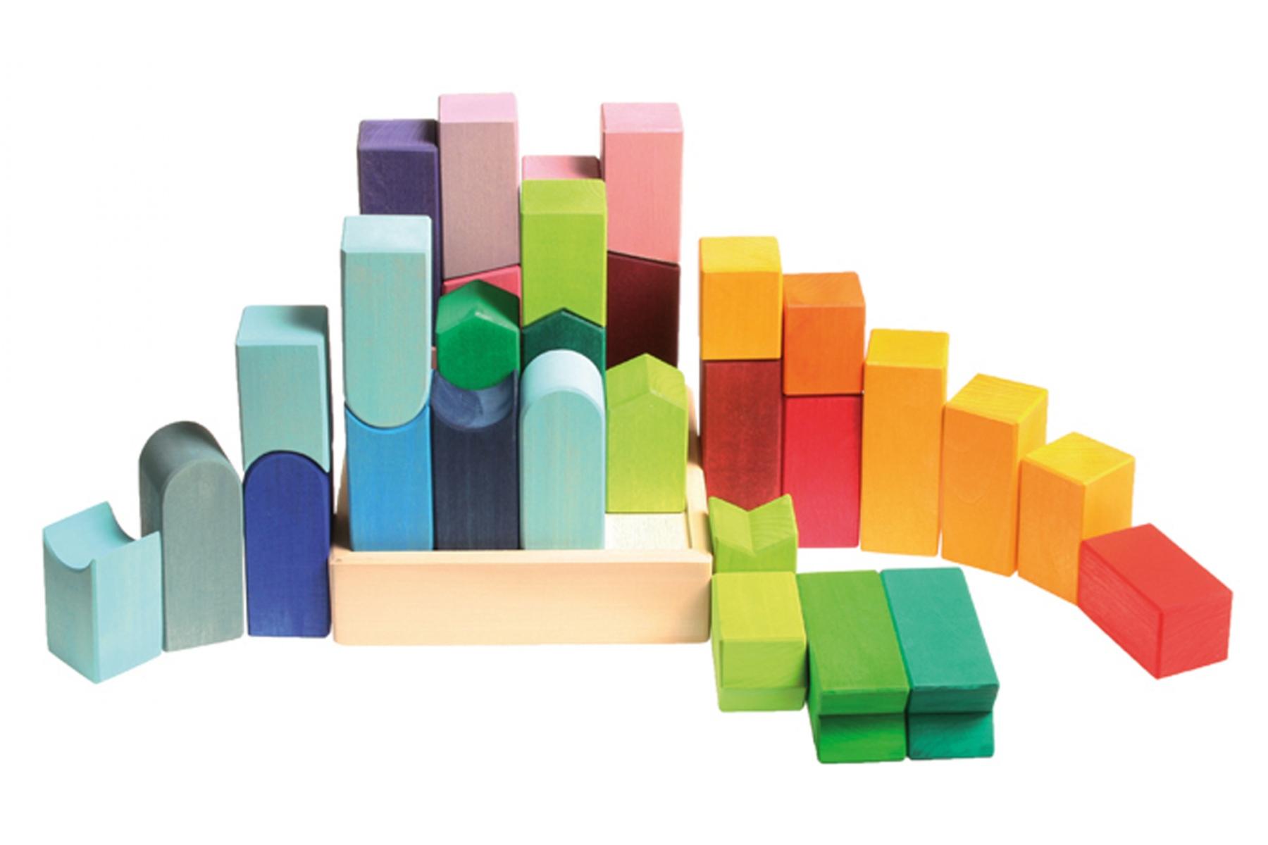 Cube en bois couleurville jouets grimm 39 s for Construction cube bois