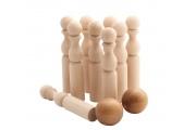 Jeu de quilles en bois - Quilles en bois brut - Fabriqué dans le Jura