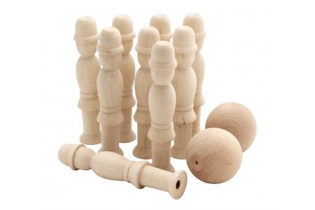 jeu de quilles petits pompiers en bois brut quilles en bois 15 cm fabriqu dans le jura. Black Bedroom Furniture Sets. Home Design Ideas