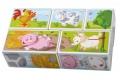 HABA - Puzzle cubes Animaux de la ferme - Mon premier puzzle en bois - Fabriqué en Allemagne