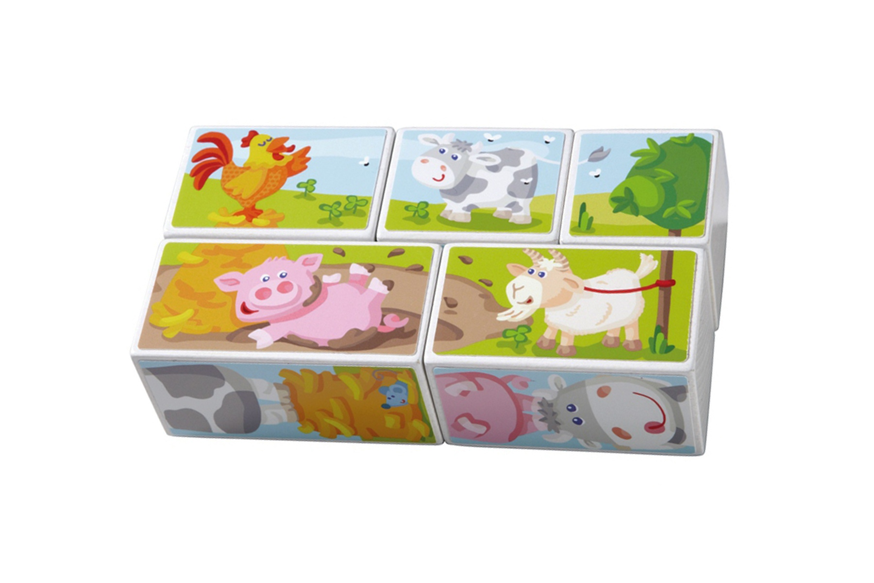 jouets haba puzzle cubes animaux de la ferme 5 cubes. Black Bedroom Furniture Sets. Home Design Ideas