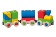 Petit train en bois - Magnétique - Cubes de construction - Fabriqué en Europe