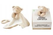 Doudou bio Ours - Doudou plat bio Ours avec anneau de dentition en bois - Wooly Organic