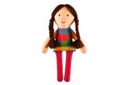 Poupée chiffon Lisa - Petite poupée en coton - Cheveux bruns - Fabrication européenne