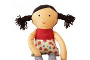 Poupée chiffon Tina - Poupée en coton - Cheveux bruns - Fabrication européenne